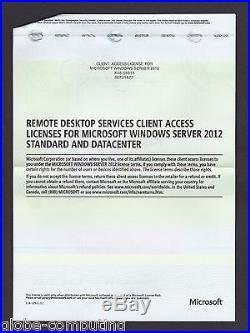 Microsoft Windows Server Remote Desktop Services 2012 RDS 25 USER CAL License