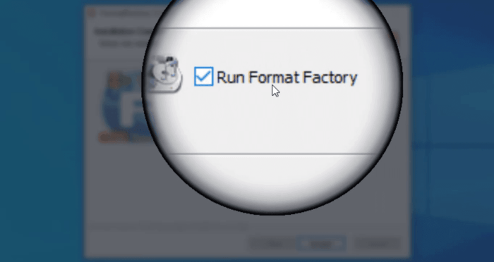 Run Format Factory on setup exit - Checkbox