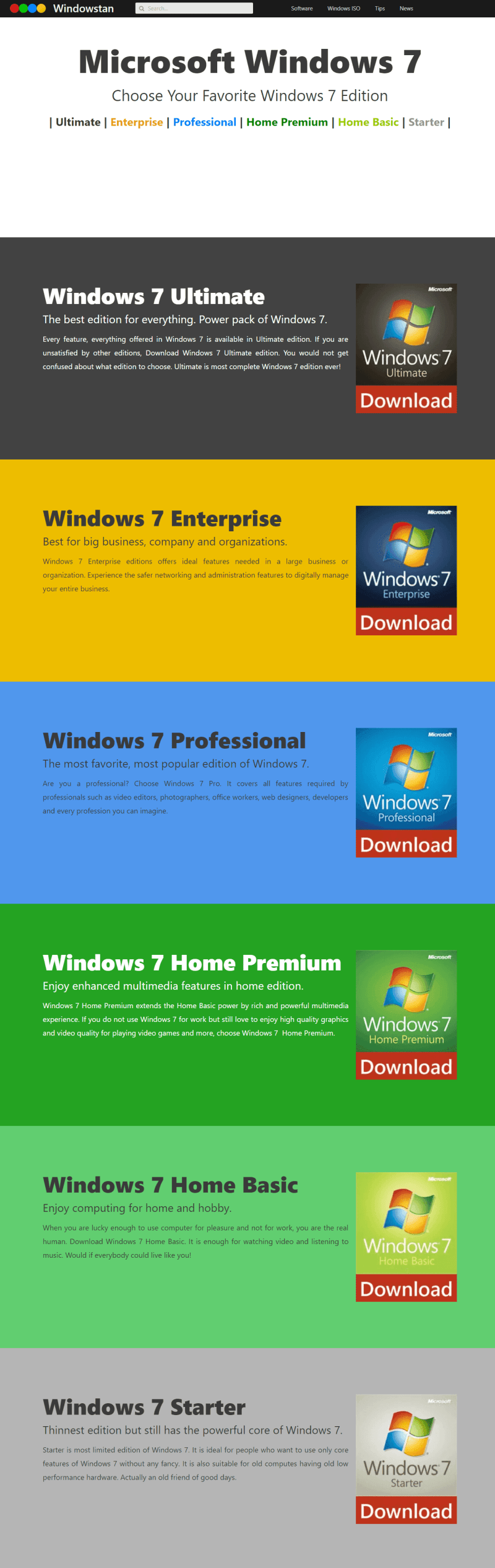 Windows 7 Editions compare