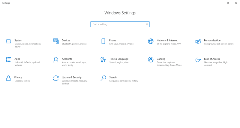 Windows Settings Panel - Windowstan