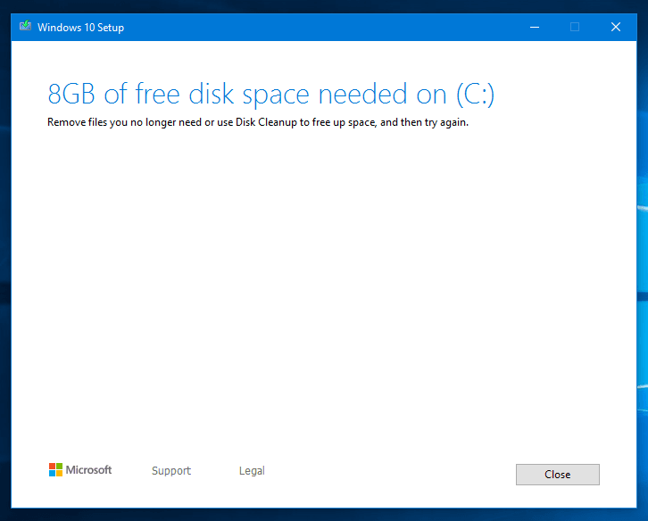 low disk space in C drive