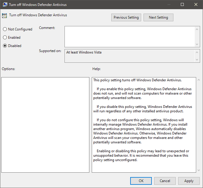 Turn on Windows Defender Antivirus from Group Policy Editor