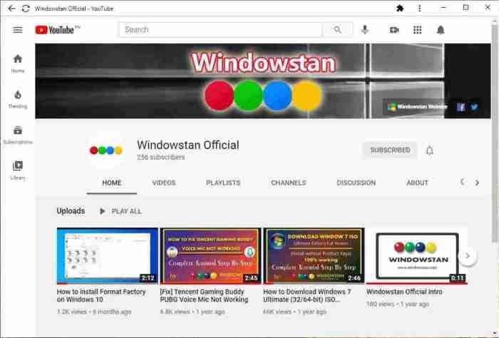 Preview of YouTube Progressive Web App PWA interface