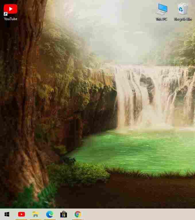 YouTube PWA icon on taskbar and desktop