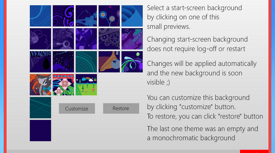 Windows 8 Start Screen Background Changer