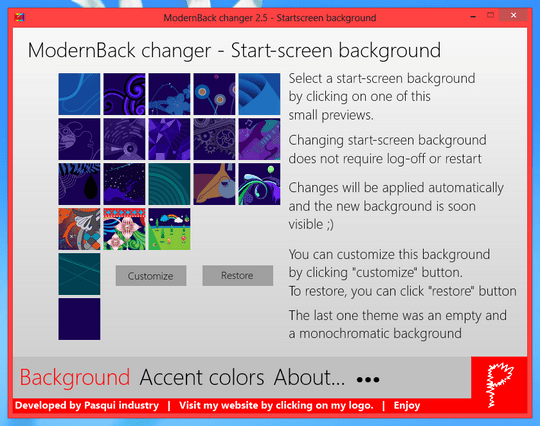 Download Free Windows 8 Start Screen Background Changer