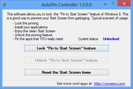 AutoPin Controller For Windows 8
