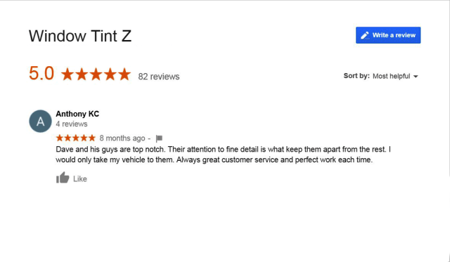 Great Customer Service and Perfect Work - Window Tint Z