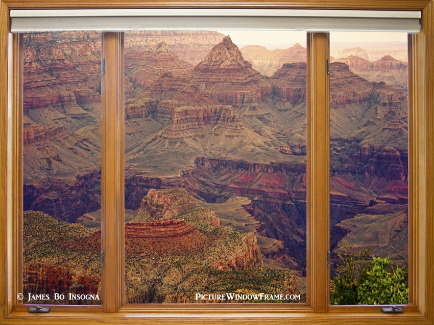 Colorful Grand Canyon Modern Wood Picture Window Frame - Window View Art