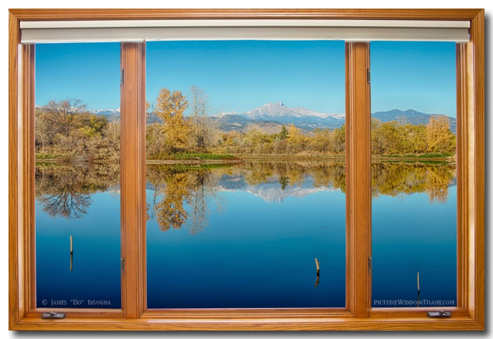 Colorado Waterfront Reflections Wood Window View Metal Print