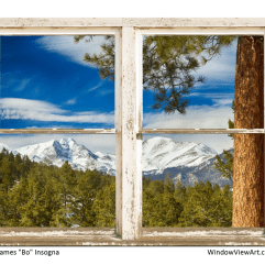 Colorado Rocky Mountain Rustic Window View 30″x40″x1.25″ Premium Canvas Gallery Wrap