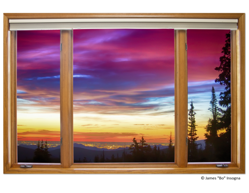 "City Lights Sunrise Classic Wood Window View 32""x48""x1.25"" Premium Canvas Wrap"