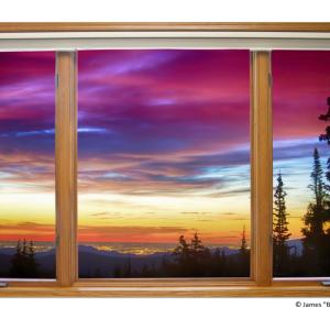 "City Lights Sunrise Classic Wood Window View 32""x48""x1.25"" Premium Canvas Wrap"