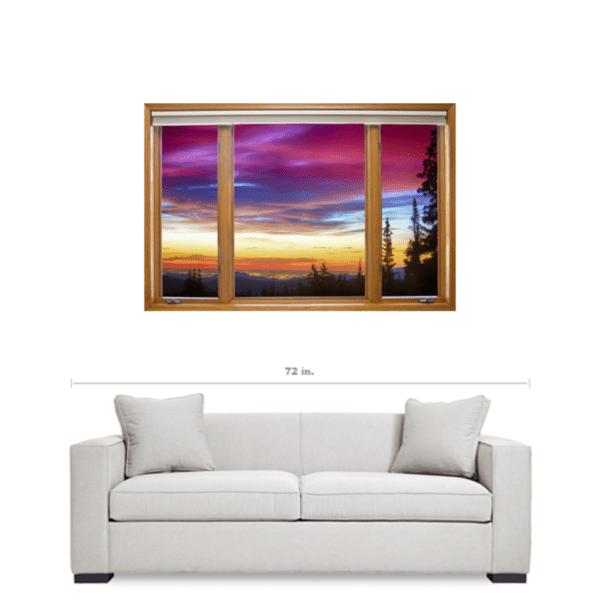 City Lights Sunrise Contemporary Wood Window View 32″x48″x1.25″ Premium Canvas Wrap