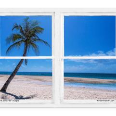 Tropical Paradise Whitewash Picture Window View 30″x40″x1.25″ Premium Canvas Gallery Wrap
