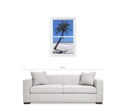 Palm Tree Portrait Tropical Window View 24″x36″x1.25″ Premium Canvas Gallery Wrap