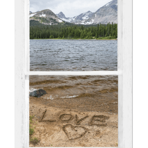 Mountain Lake Love Window View 32″x48″x1.25″ Premium Canvas Gallery Wrap