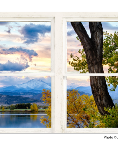 Rocky Mountains Lake Autumn White Washed Window View 32″x48″x1.25″ Premium Canvas