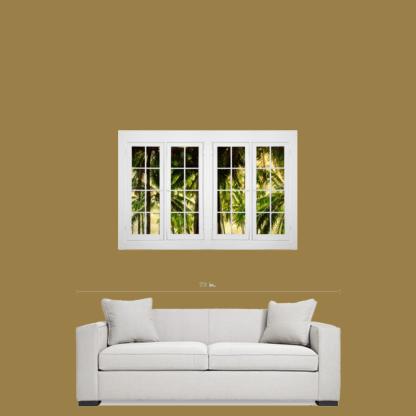 Jungle Plantation Double 16 Pane Window View 32″x48″x1.25″ Premium Canvas Gallery Wrap