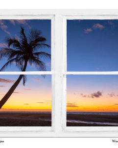 Tropical Paradise Colorful Sunset Whitewash Window View 30″x40″x1.25″ Premium Canvas Gallery Wrap