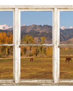 Colorado Horses Autumn Mountain Peaks Rustic Window View 32″x48″x1.25″ Premium Canvas Gallery Wrap