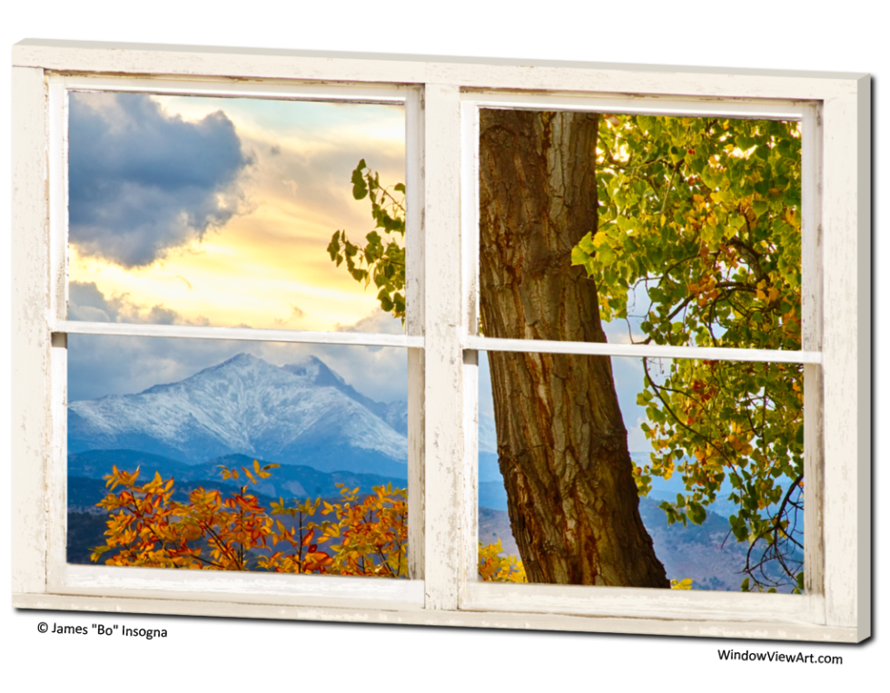 window view art of rocky mountains