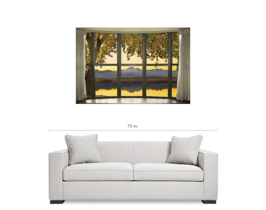 Rocky Mountain Golden Reflections Bay Window View 32″x48″x1.25″ Premium Canvas Gallery Wrap