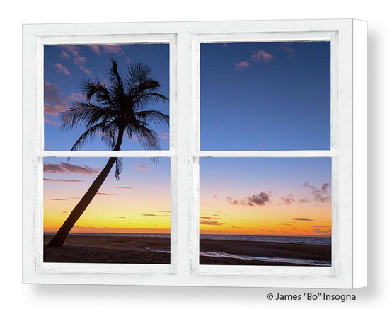 Tropical Paradise Colorful Sunset Whitewash Window View Canvas Print