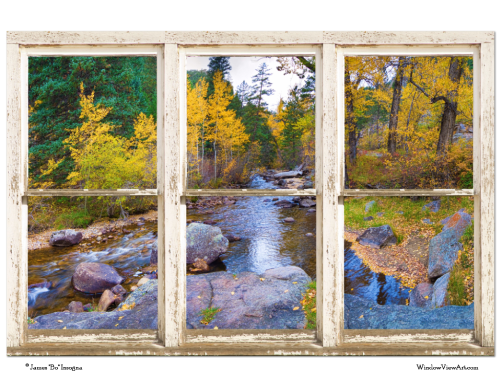 "Happy Place Forest Creek Rustic Window View Art 32""x48""x1.25"" Premium Canvas Gallery Wrap"