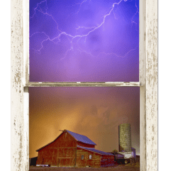Colorful Storm Farm House Window View 24″x36″x1.25″ Premium Canvas Gallery Wrap