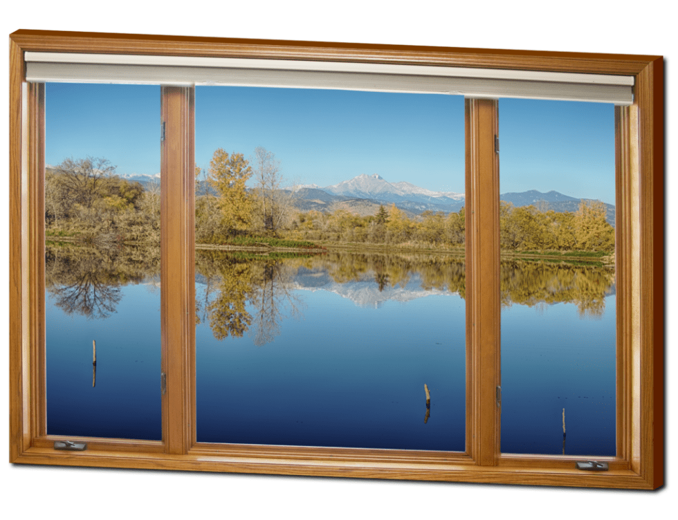 "Colorado Longs Peak Waterfront Reflections Wood Window View 32""x48""x1.25"" Premium Canvas Gallery Wrap"