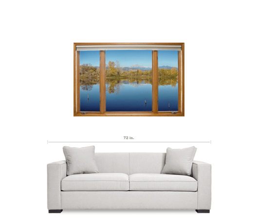 Colorado Longs Peak Waterfront Reflections Wood Window View 32″x48″x1.25″ Premium Canvas Gallery Wrap