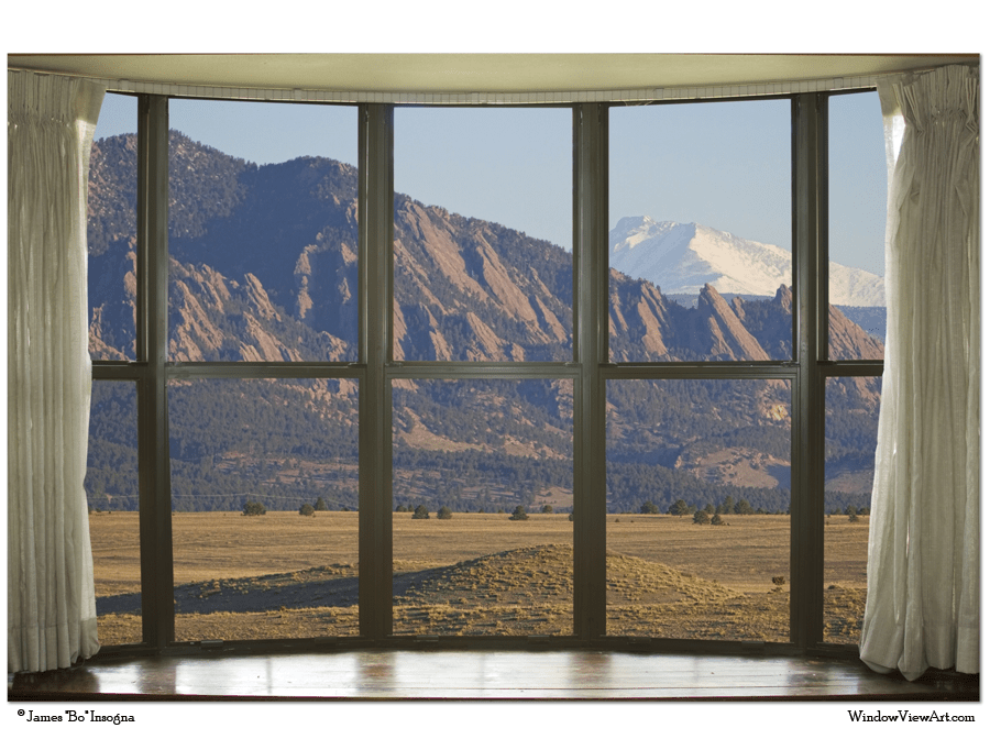 "Rocky Mountains Flatirons with Snow Longs Peak Bay Window View 32""x48""x1.25"" Premium Canvas Art Gallery Wrap"