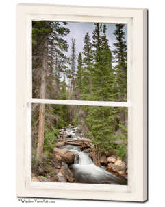 "Rocky Mountain Stream View Through White Rustic Whitewashed Window 24""x36""x1.25"" Premium Canvas Gallery Wrap"