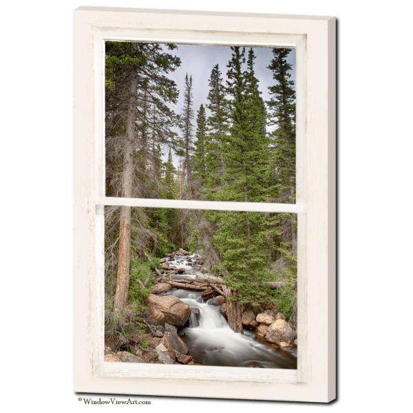 Rocky Mountain Stream View Through Rustic Whitewashed Window  24″x36″x1.25″ Premium Canvas Gallery Wrap