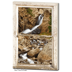 Colorado Boulder Falls Rustic Picture Window  24″x36″x1.25″ Premium Canvas Gallery Wrap Art