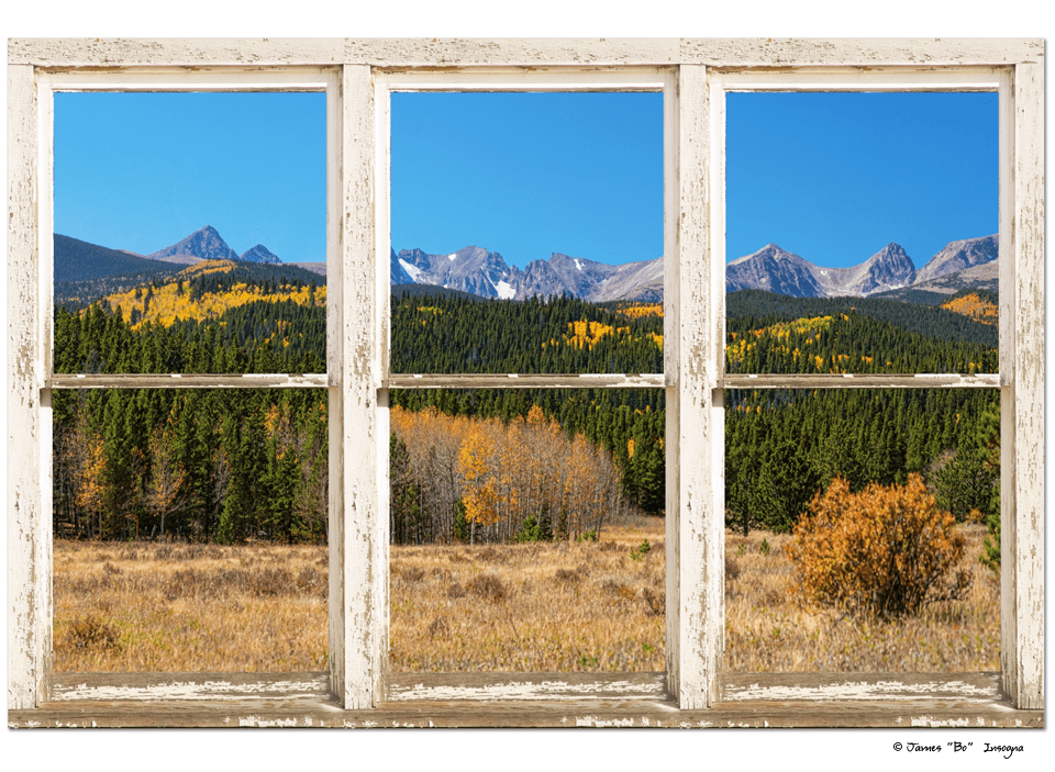 "High Elevation Rocky Mountain Peaks White Rustic Window Art 32""x48""x1.25"" Premium Canvas Wrap"