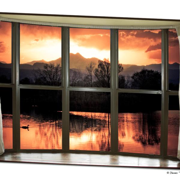 Golden Ponds Bay Window View 32″x48″x1.25″ Premium Canvas Gallery Wrap Art