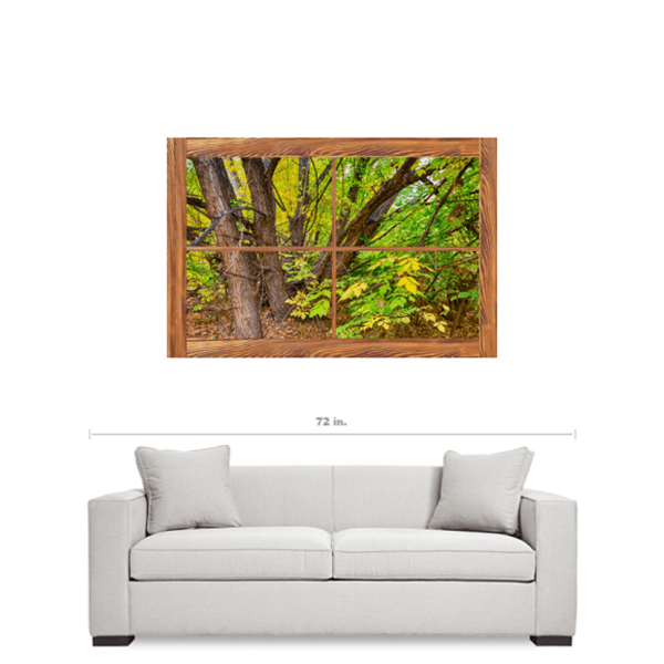 Barn Wood Picture Window Forest View 32″x48″x1.25″ Premium Canvas Gallery Wrap Art