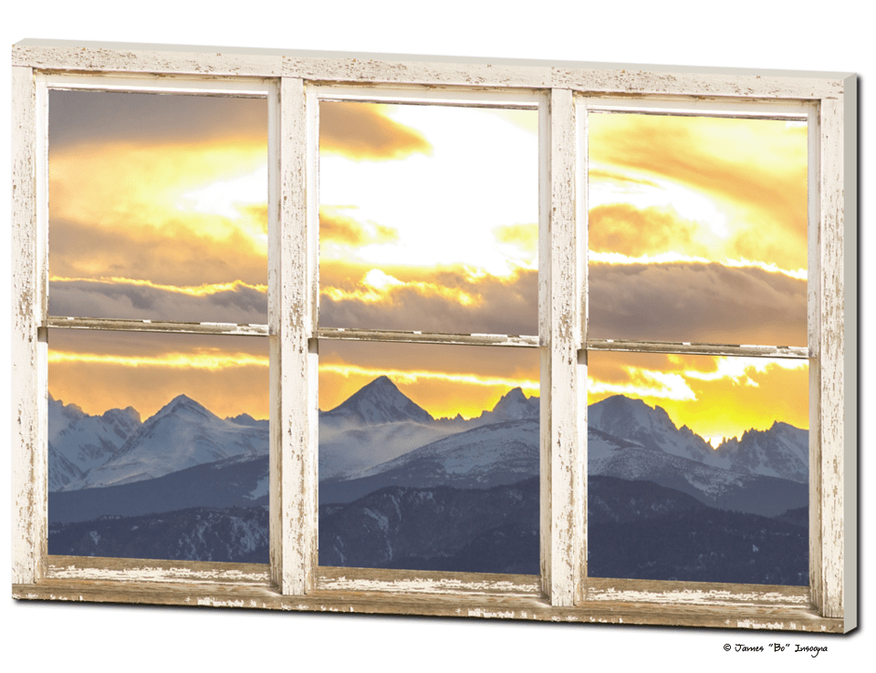 "Rocky Mountain Sunset White Rustic Farm House Window View 32""x48""x1.25"" Canvas Wrap Art"