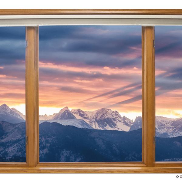 Rocky Mountain Peaks Sunset Waves Classic Wood Window View 2 – 32″x48″x1.25″ Canvas Wrap Art