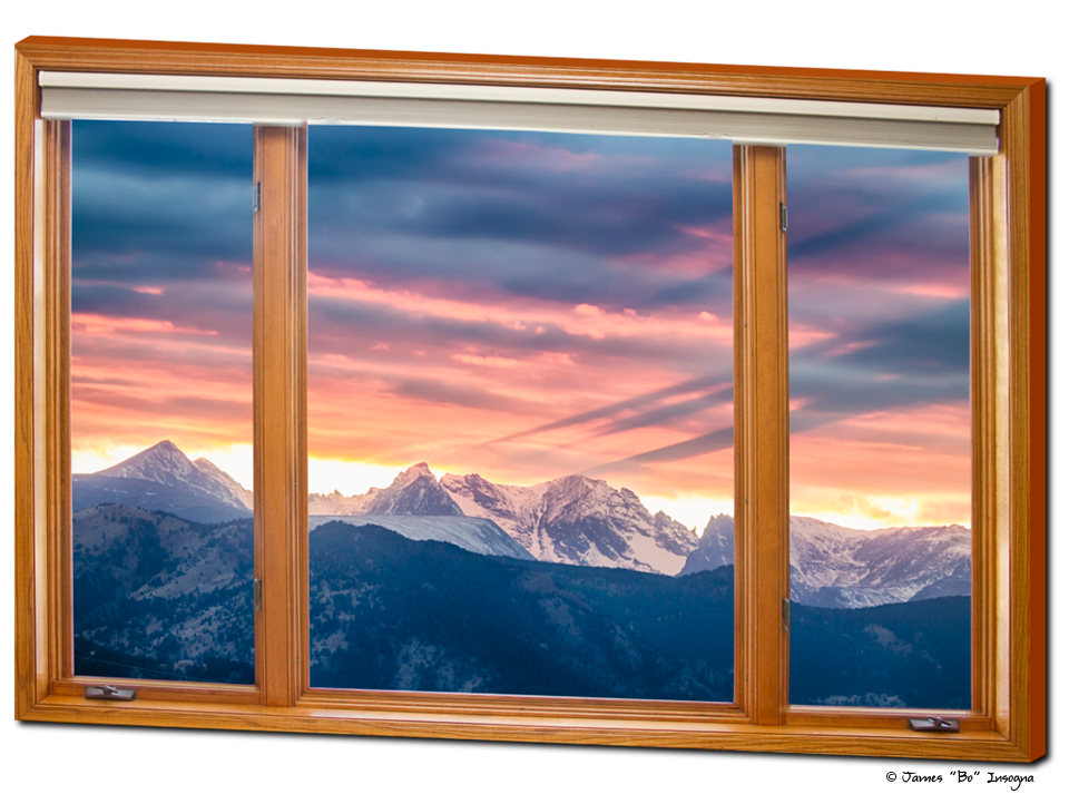 Rocky Mountain Peaks Sunset Waves Classic Contemporary Wood Window View