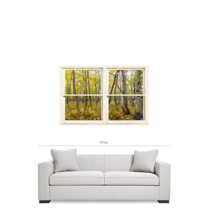 "Glorious Golden Forest Window View 32""x48""x1.25"" Premium Canvas Wrap Art"