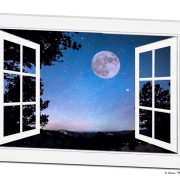 Starry Night Full Moon Open White Picture Window Art View  32″x48″x1.25″ Canvas Wrap