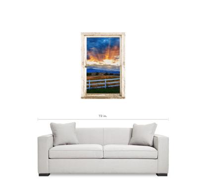 Country Beams Of Light Farmhouse Picture Window Portrait View  Art 24″x36″x1.25″ Premium Canvas Gallery Wrap