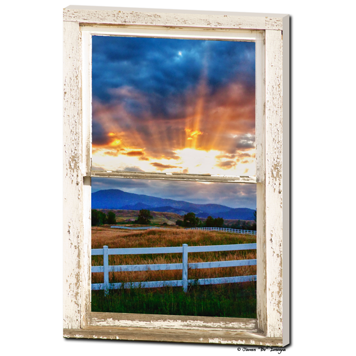 Country Beams Of Light Farmhouse Picture Window Portrait View Art 24
