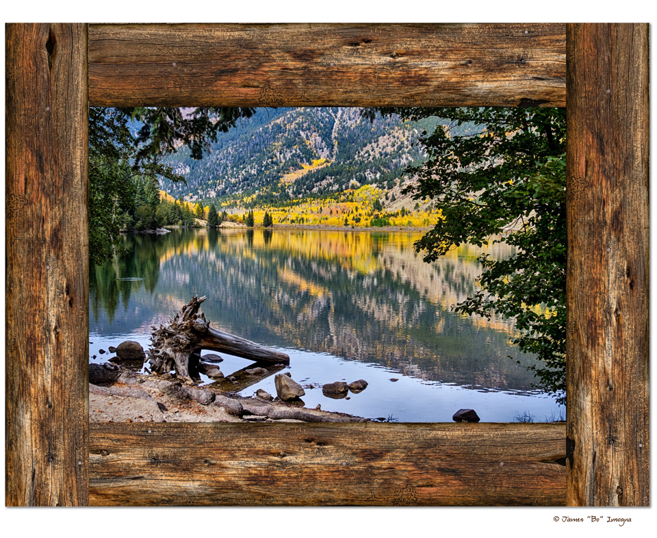 "Cottonwood Mountain Lake Rustic Cabin Window View Art 30""x40""x1.25"" Premium Canvas Gallery Wrap"