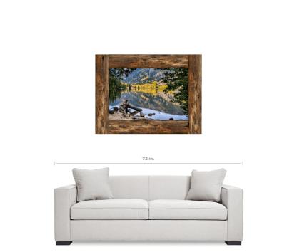 Cottonwood Mountain Lake Rustic Cabin Window View Art 30″x40″x1.25″ Premium Canvas Gallery Wrap