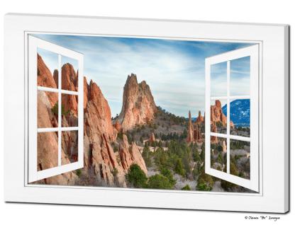 Garden Of The Gods Open 12 Pane White Picture Window Frame View 32″x48″x1.25″ Premium Canvas Gallery Wrap Art