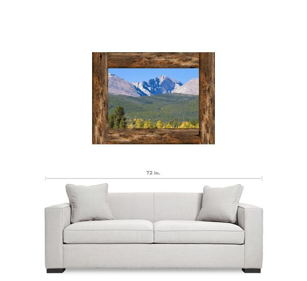 Colorado Longs Peak Rustic Wood Window View Art 30″x40″x1.25″ Canvas Gallery Wrap